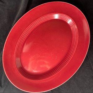 Vintage Harlequin Pottery Maroon Oval Platter
